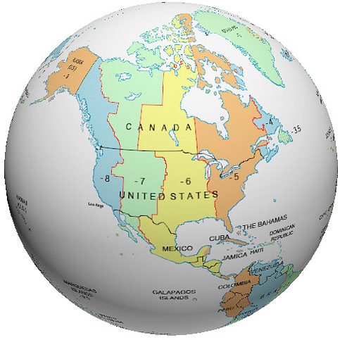 Time Zone Globe - Canada and us time zone map