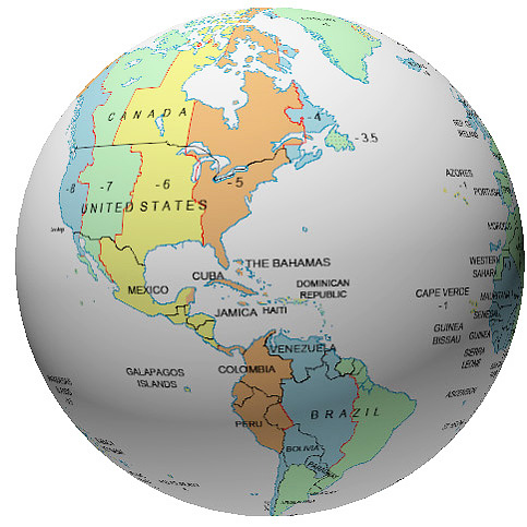 Caribbean Time Zone Globe