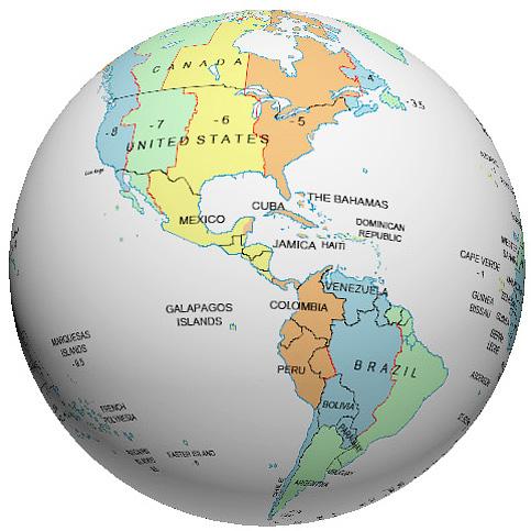Central America Time Zone Globe