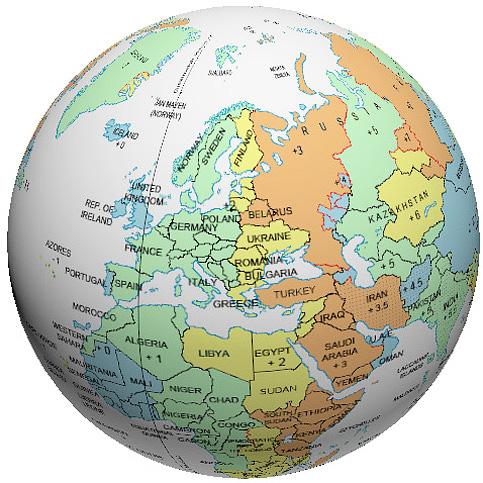 Europe Time Zone Globe