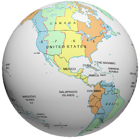 Mexico Time Zone Globe