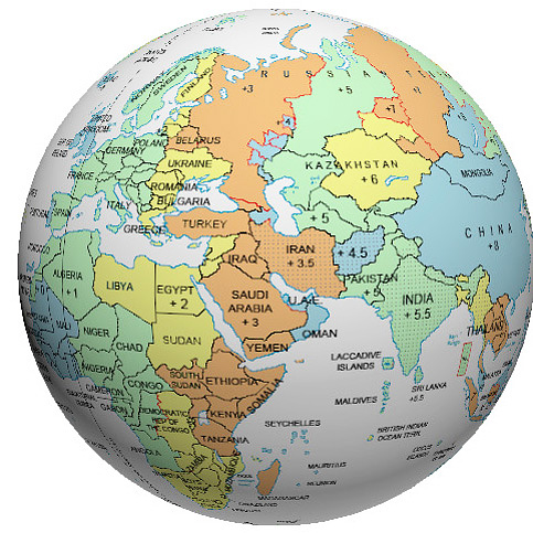 Middle East Time Zone Globe