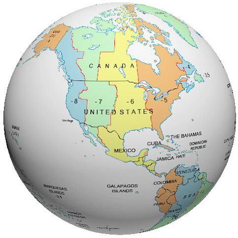 States Time Zone Globe - Us map time zones