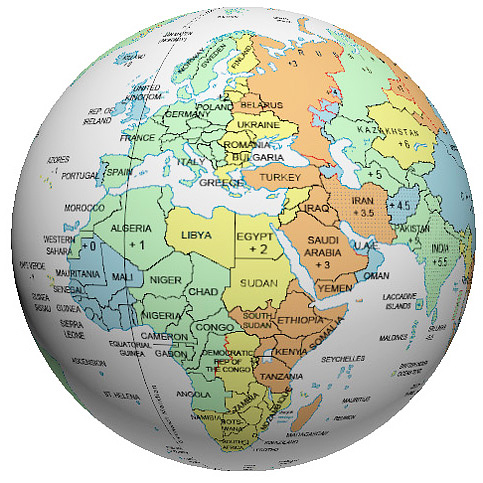 Time Zone Globe - Globe world map